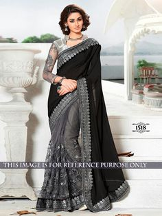d44eb9aea70 Spread your grace and stylishness wearing this black and gray color net  jacquard half n half sari. The lovely lace