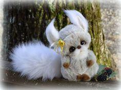 Artist Teddy Bear friends. Teddy Squirrel. Fur by FeltSilkArtGift