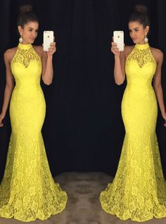 Halter Lace Evening Dresses Yellow Lace Dresses Evening 2020 - New Ideas Prom Dresses Long With Sleeves, Lace Evening Dresses, Long Bridesmaid Dresses, Formal Dresses, Yellow Lace Dresses, Dress Lace, Ladies Day Dresses, African Dress, Fashion Dresses