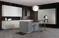 Monolite kitchen chases the formal perfection achieved through a carved square design. Apartment Interior Design, Modern Interior Design, Kitchen Cabinet Design, Kitchen Cabinets, Contemporary Cabinets, Minimal Kitchen, House Ideas, Kitchen Collection, Steel Doors