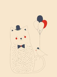 Kat print - Pimpelpluis - https://www.facebook.com/pages/Pimpelpluis/188675421305550?ref=hl - (nursery print illustration kids children art poster dieren kinderen cute illustratie poes vogel ballon hoed cat bird)
