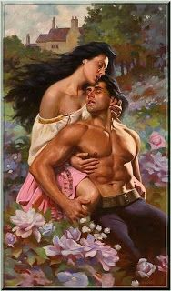 Cover art by Max Ginsburg, written by Lisa Kleypas Art Et Illustration, Illustrations, Kiss And Romance, Fabian Perez, Historical Romance Books, Fantasy Couples, Romance Novel Covers, Magical Images, Couple Painting