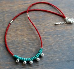 Turquoise and Red Coral Necklace Boho Chic Turquoise diy silver necklake Turquoise and Red Coral Necklace, Boho Chic Turquoise Necklace, Boho Style Beaded Necklace, Red and Blue Necklace, coral and silver necklace Boho Jewelry, Beaded Jewelry, Handmade Jewelry, Beaded Necklace, Jewelry Design, Beaded Bracelets, Jewelry Crafts, Necklaces, Jewellery