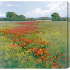 """Gallery Direct Poppies II by Kim Coulter Painting Print on Canvas Size: 48"""" H x 48"""" W"""