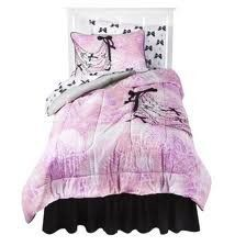 """CeCe & Rocky Full Comforter Set Collection by Disney. $49.99. Bed Topper Features: Reversible Number of Pieces: 4 Includes: Comforter, Fabric Tote, 2 Shams Fiber Content: 100 % Polyester Polyester Care and Cleaning: Do Not Bleach, Machine Wash Cold, Tumble Dry Dimensions: 86.0 """" L x 76.0 """" W"""