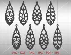 Floral Leaf Earrings Cut Template. Multiple file format perfect for banners, invitation, clip art, scrapbooking, card making, heat transfer print, party accessories and all your crafting. Commercial use not limited. * This Download Includes ************************ 1 EPS files (grouped