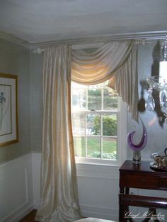 """Very nice mixture of elegance and romance - would be nice for the bedroom, the fullness of it makes the single swag still luxurious on this treatment - """"This swag and jabot on one side and panel on the other add a casual elegance to - curtains - boston - Cheryl McCracken Interiors,Inc"""" #swag #scarf #curtains"""