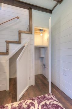 From Alabama Tiny Homes is another beautiful Trinity tiny house on wheels, complete with a spacious living room and fully equipped kitchen. Small Basement Design, Small Basements, House Interior, House, Home, Tiny House Interior, Tiny House Interior Design, Shed Homes, Small Room Design
