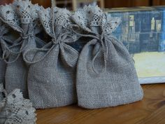 Natural Grey Linen Favor Bags with Lace 3 1/2x6 by touchoflinen