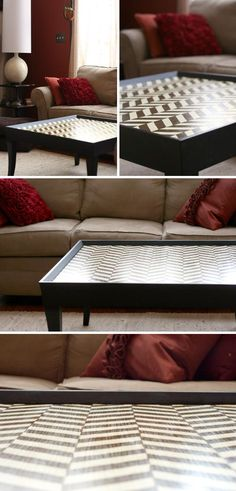 Painted herringbone pattern coffee table, coated in polyurethane. Ya this needs to happen ASAP.