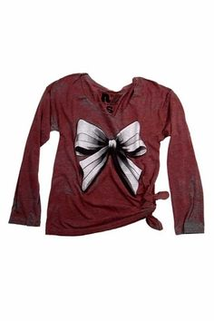 Rebel Yell Bow Long Sleeve Boyfriend Tee in Red