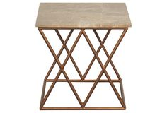 Lola Side Table, Gold/Cream  19 x 19 x 19    $499