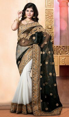 Black and Off White Georgette Net Half N Half Sari Price: Usa Dollar $116, British UK Pound £68, Euro86, Canada CA$126 , Indian Rs6264.