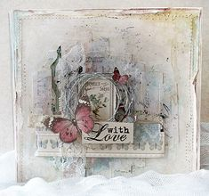 mixed media art Lovely Mixed media card - With Love Lots of pretty cards here! Altered Canvas, Altered Art, Vintage Cards, Vintage Paper, Shabby Chic Cards, Shabby Chic Journal, Beautiful Handmade Cards, Mix Media, Butterfly Cards