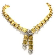 Retro Botanical Diamond Yellow Gold Collar Necklace  #diamonds #necklace #goldnecklace #retro #consignment