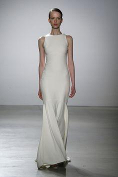 Simple Classy Jewel Neck Bridal Trumpet Gown | http://brideandbreakfast.ph/2015/08/28/amsale-bridal-spring-2016/ | Designer: Amsale