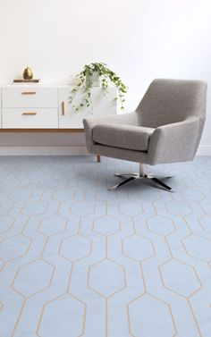 """Pump up the style in your home with our """"Alice"""" Blue Retro Geometric Vinyl Flooring. The geometric design of this flooring will bring a feeling of sophistication to your interior. Atrafloor is passionate about bringing high-design concepts to flooring with creations like Alice, to ensure that you can achieve a space of unique interior design. #vinyl #flooring #inspiration #design #decor #home #homedecor #interior #interiordesign #Ihavethisthingwithfloors"""