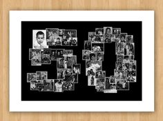 Photo Collage DIY Printable Celebration Number, With or Without Signature Border