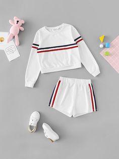 e82b7b915c04db Girls Hey Print Mock Top  amp  Grid Skirt Set -SheIn(Sheinside) Kids