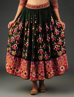 Buy Green Multicolor Vintage Embroidered Skirt from Kutch Cotton Art Finds Craft Culture Textiles & Woolen Wall Hangings Online at Jaypore.com