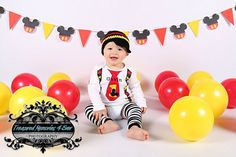 MOUSE First BIRTHDAY Outfit-Mickey Birthday Set With Name- Cake Smash-Baby Mouse Birthday Outfit with Crawlers and Beanie on Etsy, $48.00