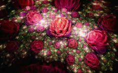 Download wallpapers roses, 4k, fractals, 3d art, neon lights, art, creative