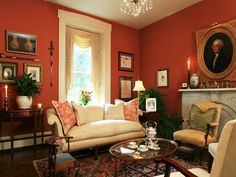 Russet and cream living room – Bridgeview House, 3786 River Rd, Lumberville, PA