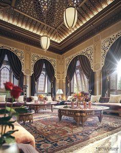 "I'd like to share one of my latest interior work. "" Oriental Majlis "" Villa ""Sheikh Nawaf Al-khalifa"" - Qatar software : max, Vray, photoshop and lightroom hope you like it :) Classic Interior, Luxury Interior, Home Interior Design, Design Exterior, Interior And Exterior, Islamic Architecture, Architecture Design, Design Marocain, Arabian Decor"