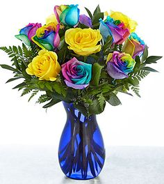 Search for time to celebrate rainbow rose bouquet Beautiful Roses, Beautiful Flowers, Tie Dye Roses, Million Roses, Purple Vase, Birthday Bouquet, Rainbow Roses, Rose Arrangements, Wedding Flower Decorations