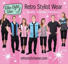 Retro Stylist Wear banner for trade shows! Woohoo! #petgroomerapparel, #stylistwear, #groomingsmocks, #dogroomerapparel, #petgroomingsmocks, #doggroomingsmocks
