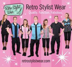 Retro Stylist Wear banner for trade shows! Woohoo! #petgroomerapparel, #stylistwear, #groomingsmocks, #dogroomerapparel, #petgroomingsmocks, #doggroomingsmocks