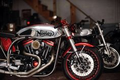 Norley (Norton / Harley) 1300 Harley in Norton style frame with Ducati Sport 1000 front end.