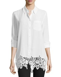 Reese+Button-Front+Lace-Hem+Blouse,+Bright+White+by+Equipment+at+Neiman+Marcus.