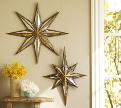 Decorative Star Mirror #potterybarn...love this and I actually am replicating this bedroom. Love simple white and golds.