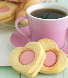 Totally sweet, cheerfully fun Strawberry Shortbread Heart Cookies. #food #strawberry #shortbread #heart #cookies #pink #Valentines