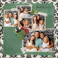 Family page that is simple and doesn't compeat with the photos. Love the handwritten font.
