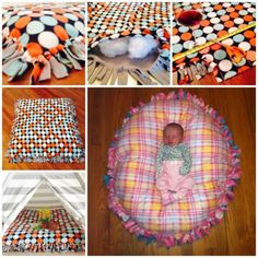 You don't have to be able to sew to make this wonderful floor pillow. Here is how. To make this pillow, you will need to fleece fabric. Lay them on top of each other. Cut 3~4 inch strips around the edges of the fleeces Tie the strips of the two fleece fabrics together, but leave one side open...
