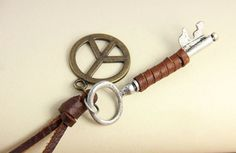 $9.99  Vintage Key Peace Leather Pendant Necklace
