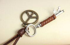 $9.99  Vintage Key Peace Leather Pendant Necklace