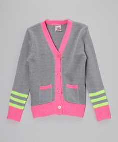 Love this Gray & Neon Pink Cardigan - Girls by Real Love on #zulily! #zulilyfinds