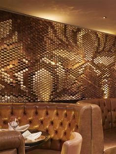 Walnut and High Gloss Gold Ceramic tile installation for Sukhothai Restaurant, Leeds by Giles Miller Studio