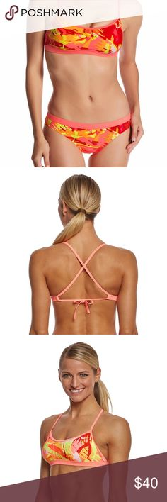 🆕Nike Lava glow sport athletic bikini L See above description. Msrp $78. Happy to answer any questions from serious buyers. Please no lowball offers. Bundle two or more items and save 15%. Nike Swim Bikinis