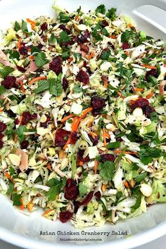 Do you love a good Asian Chicken Salad? Then you'll love the flavors of Asian Chicken Cranberry Salad, a delicious potluck or holiday salad or main dish! Asian Recipes, New Recipes, Cooking Recipes, Favorite Recipes, Healthy Recipes, Recipies, Cranberry Salad Recipes, Asian Chicken Salads, Chinese Chicken