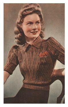 1940s Knitting Pattern for Womens Blouse / Jumper  Short