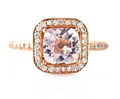 14K Cushion Morganite Engagement Ring Rose Gold by RareEarth, $982.00