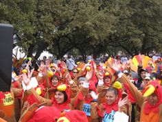 Weird and wild world records/World's Largest Group of People Dressed as Turkeys- the 2011 Turkey Trot in Dallas; 661 people arrived in costume