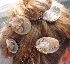 Beach Wedding or Honeymoon Mermaid Hair Pins- Set of 4 Abalone, Pearl Shells, and Millinery Flower Hair Pins - Loving Coastal Living
