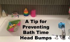 Hint Mama shares where to store your bath toys to lessen the chance of bath time head bumps.