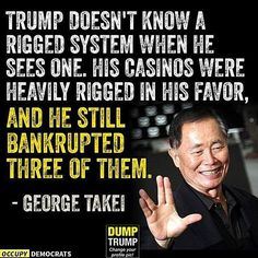Funny Quotes About Donald Trump by Comedians and Celebrities: George Takei on a Rigged System Caricatures, Trump Bankruptcies, Trump Meme, Crazy Quotes, Funny Quotes, Jokes Quotes, Trump Crazy, Donald Trump Pictures, Donald And Melania