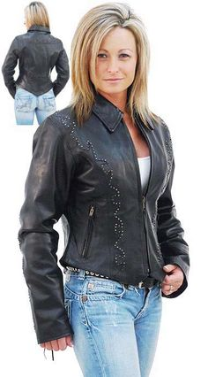 Ladies Black Scalloped Western Leather Jacket Cowgirl Outfits 86dfe31315